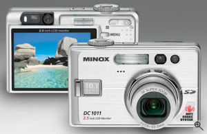 Minox's DC 1011 digital camera. Courtesy of Minox, with modifications by Michael R. Tomkins. Click for a bigger picture!