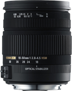 Sigma's 18-50mm F2.8-4.5 DC OS HSM lens. Photo provided by Sigma Corp. Click for a bigger picture!