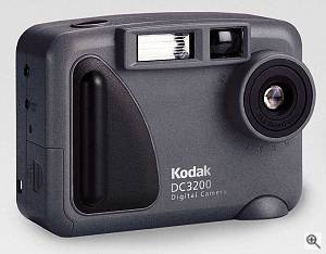 Kodak's DC3200 digital camera, front right quarter view. Courtesy of Eastman Kodak Co. - click for a bigger picture!