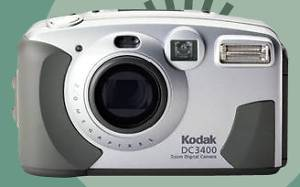 Kodak's DC3400 Zoom digital camera, front view.  Courtesy of Kodak.