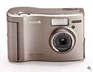 Kodak's 2.3 megapixel DC3800 digital camera, front view.  Courtesy of Eastman Kodak Co. - click for a bigger picture!