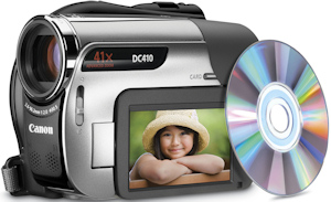 Canon's DC410 DVD camcorder. Photo provided by Canon U.S.A. Inc. Click for a bigger picture!