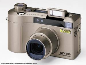 Kodak's new DC4800 Zoom digital camera, front view with flash and zoom extended - click for a bigger picture!