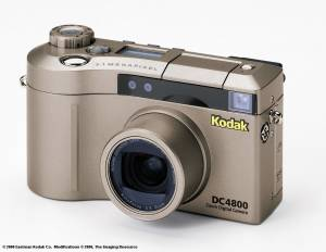 Kodak's new DC4800 Zoom digital camera, front view with flash and zoom retracted - click for a bigger picture!