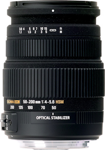 Sigma's 50-200mm F4-5.6 DC OS HSM lens. Photo provided by Sigma Corp. Click for a bigger picture!