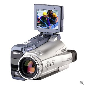 Sony's Handycam DCR-IP220 camcorder, front view. Courtesy of Sony Electronics, with modifications by Michael R. Tomkins. Click for a bigger picture!