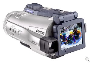 Sony's Handycam DCR-IP220 camcorder, rear view. Courtesy of Sony Electronics, with modifications by Michael R. Tomkins. Click for a bigger picture!