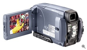 Sony's Handycam DCR-IP55 camcorder, rear view. Courtesy of Sony Electronics, with modifications by Michael R. Tomkins. Click for a bigger picture!