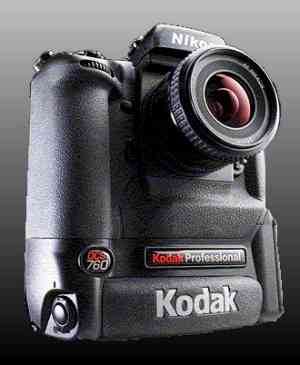 Kodak's DCS 760  digital camera, lower front right quarter view.