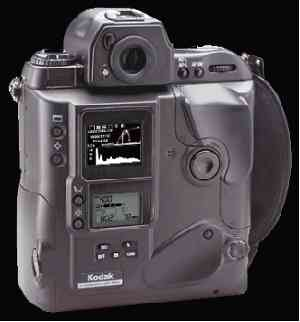 Kodak's DCS 760  digital camera, rear left quarter view with LCD display on.
