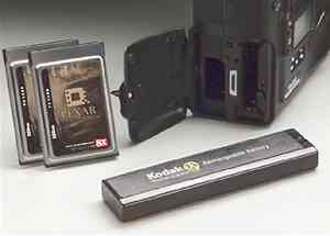 Kodak's DCS 760  digital camera, lower left corner showing battery and flash slots.