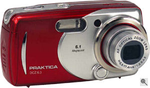 Praktica's DCZ 6.3 digital camera. Courtesy of Praktica, with modifications by Michael R. Tomkins. Click for a bigger picture!