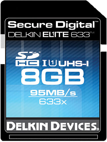 The Delkin Elite 633X UHS-I SDHC card. Photo provided by Delkin Devices Inc. Click for a bigger picture!