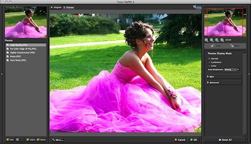 Topaz DeJPEG v4.0's new user interface. Screenshot provided by Topaz Labs LLC. Click for a bigger picture!