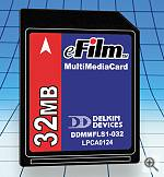 Delkin's 32MB MultiMediaCard. Courtesy of Delkin Devices Inc. - click for a bigger picture!