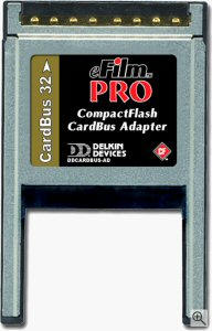 Delkin's CompactFlash CardBus adapter. Courtesy of Delkin, with modifications by Michael R. Tomkins. Click for a bigger picture!