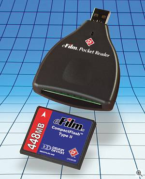 Delkin's Type-II CompactFlash Pocket Reader. Courtesy of Delkin Devices Inc. - click for a bigger picture!