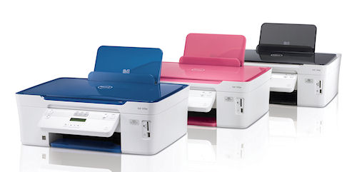 The Dell V313w AIO inkjet printer is available in the U.S.A. and Canada with optional pink/white and blue/white trim. Photo and caption provided by Dell Inc. / BusinessWire. Click for a bigger picture!