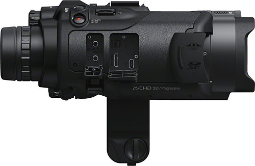 Sony's DEV-3 / DEV-5 binoculars, shown with connector compartments opened. Photo provided by Sony Electronics Inc. Click for a bigger picture!
