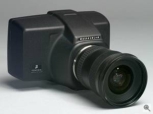 Hasselblad/Foveon's Dfinity digital camera, front right quarter view. Courtesy of Victor Hasselblad AB - click for a bigger picture!