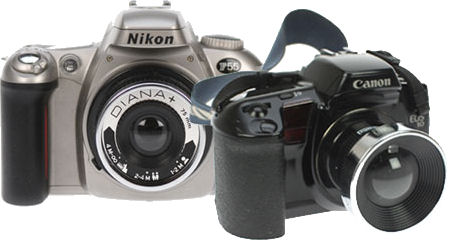 Nikon F55 and Canon EOS 10 film SLRs with Diana lenses attached. Photo provided by Lomographische AG