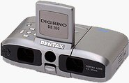 Pentax's DIGIBINO DB200 digital camera binocular. Courtesy of Pentax, with modifications by Michael R. Tomkins.