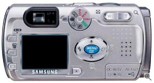 Samsung's Digimax V4 digital camera. Courtesy of Samsung, with modifications by Michael R. Tomkins. Click for a bigger picture!
