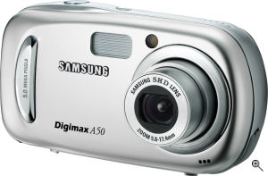 Samsung's Digimax A50 digital camera. Courtesy of Samsung, with modifications by Michael R. Tomkins. Click for a bigger picture!