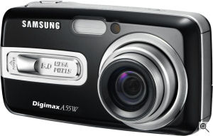 Samsung's Digimax A55W digital camera. Courtesy of Samsung, with modifications by Michael R. Tomkins. Click for a bigger picture!