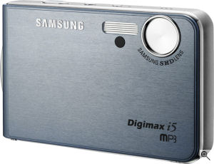 Samsung's Digimax i50 MP3W digital camera. Courtesy of Samsung, with modifications by Michael R. Tomkins. Click for a bigger picture!