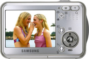 Samsung's Digimax i5 digital camera. Courtesy of Samsung, with modifications by Michael R. Tomkins.