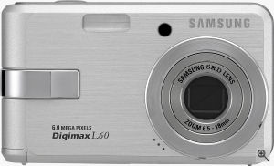 Samsung's Digimax L60 digital camera. Courtesy of Samsung, with modifications by Michael R. Tomkins. Click for a bigger picture!