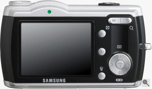 Samsung's Digimax L85 digital camera. Courtesy of Samsung, with modifications by Michael R. Tomkins. Click for a bigger picture!