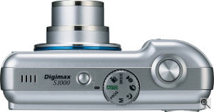 Samsung's Digimax S1000 digital camera. Courtesy of Samsung, with modifications by Michael R. Tomkins. Click for a bigger picture!