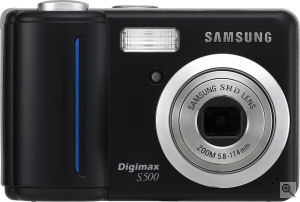 Samsung's Digimax S500 digital camera. Courtesy of Samsung, with modifications by Michael R. Tomkins. Click for a bigger picture!