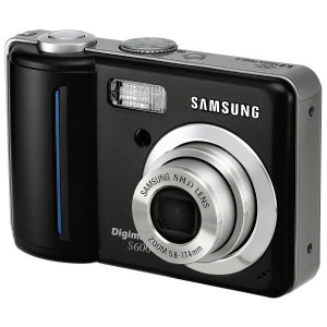 Samsung's Digimax S600 digital camera. Courtesy of Samsung, with modifications by Michael R. Tomkins. Click for a bigger picture!