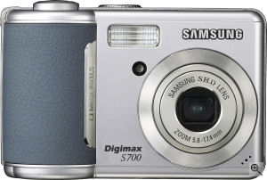 Samsung's Digimax S700 digital camera. Courtesy of Samsung, with modifications by Michael R. Tomkins. Click for a bigger picture!