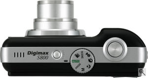Samsung's Digimax S800 digital camera. Courtesy of Samsung, with modifications by Michael R. Tomkins. Click for a bigger picture!