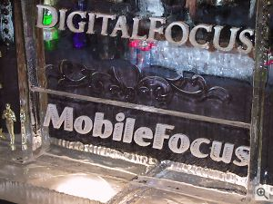 The DigitalFocus / MobileFocus logo, carved as an ice sculpture. Copyright © 2001, Michael R. Tomkins. All rights reserved. Click for a bigger picture!