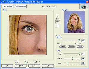 Kodak's DIGITAL GEM Airbrush Professional plug-in screenshot. Courtesy of Kodak, with modifications by Michael R. Tomkins. Click for a bigger picture!