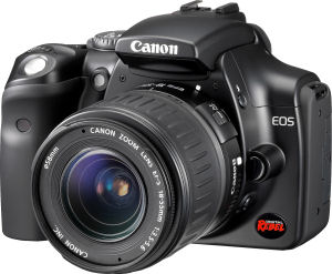 Canon's EOS Digital Rebel, black version. Courtesy of Canon, with modifications by Michael R. Tomkins. Click for a bigger picture!