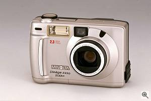 Minolta's Dim�ge 2330 digital camera, front view. Courtesy of Minolta Corp. - click for a bigger picture!