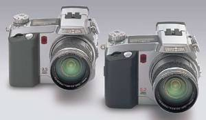Minolta's DiMAGE 5  and DiMAGE 7 digital cameras alongside each other. Courtesy of Minolta.