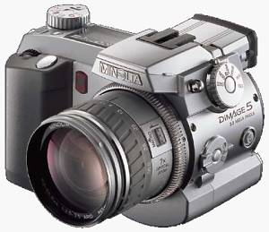 Minolta's DiMAGE 5  digital camera, front left quarter view. Courtesy of Minolta.