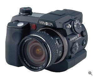 Minolta's DiMAGE 7Hi digital camera. Courtesy of Minolta Corporation, with modifications by Michael R. Tomkins. Click for a bigger picture!
