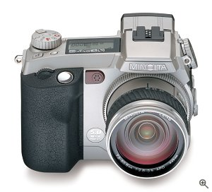 Minolta's DiMAGE 7i digital camera. Courtesy of Minolta, with modifications by Michael R. Tomkins.