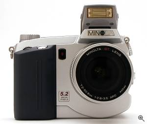 Minolta's DiMAGE 7 digital camera, front view.  Copyright (c) 2001, The Imaging Resource. All rights reserved. Click for a bigger picture!
