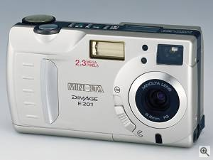 Minolta's DiMAGE E201 digital camera, front view.  Courtesy of Minolta. Click for a bigger picture!