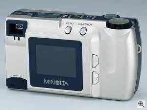 Minolta's DiMAGE E201 digital camera, rear view.  Courtesy of Minolta. Click for a bigger picture!