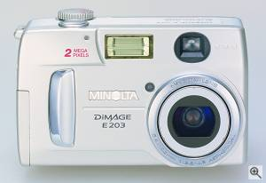 Minolta's DiMAGE E203 digital camera. Courtesy of Minolta. Click for a bigger picture!